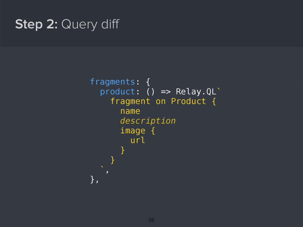 Step 2: Query diff { fragments: { product: () =>...