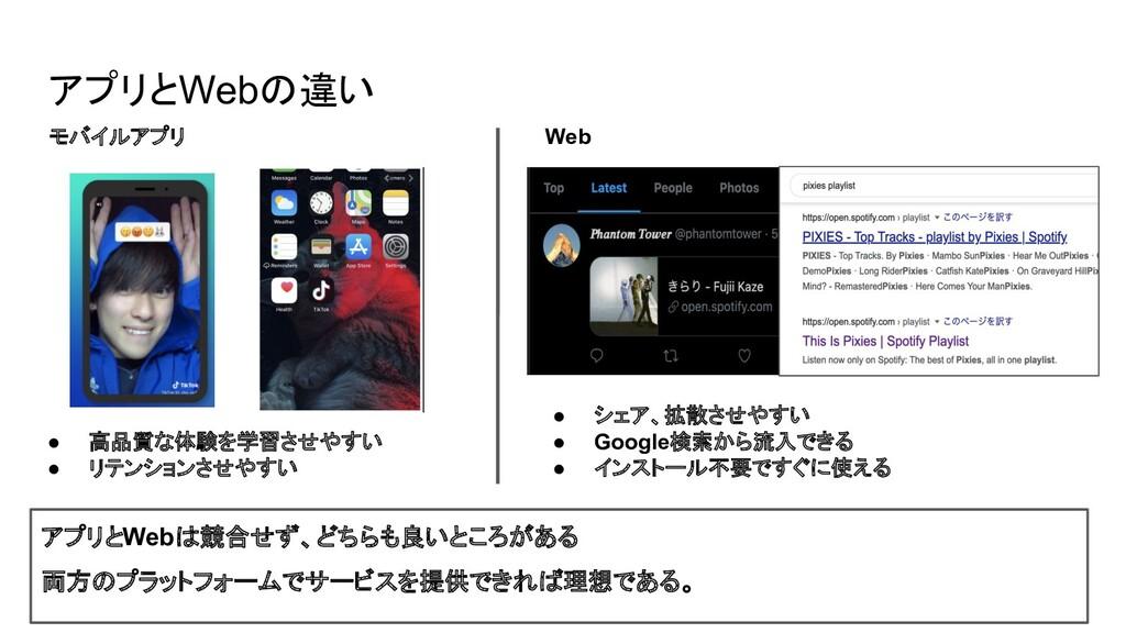 アプリとWebの違い モバイルアプリ Web ● 高品質な体験を学習させやすい ● リテンショ...