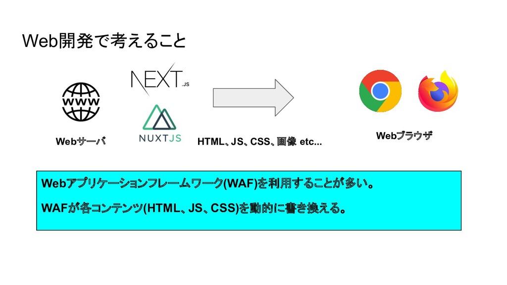 Web開発で考えること Webアプリケーションフレームワーク(WAF)を利用することが多い。 ...