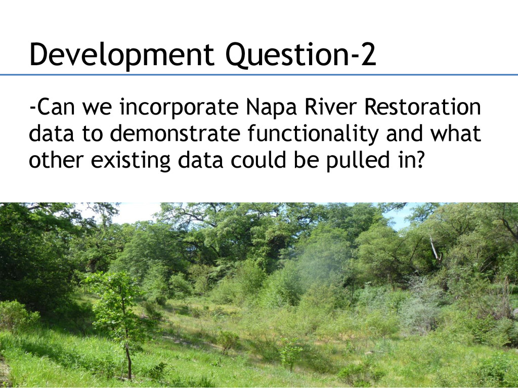 -Can we incorporate Napa River Restoration data...