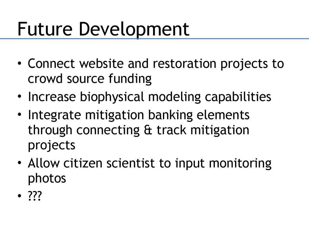 Future Development • Connect website and restor...