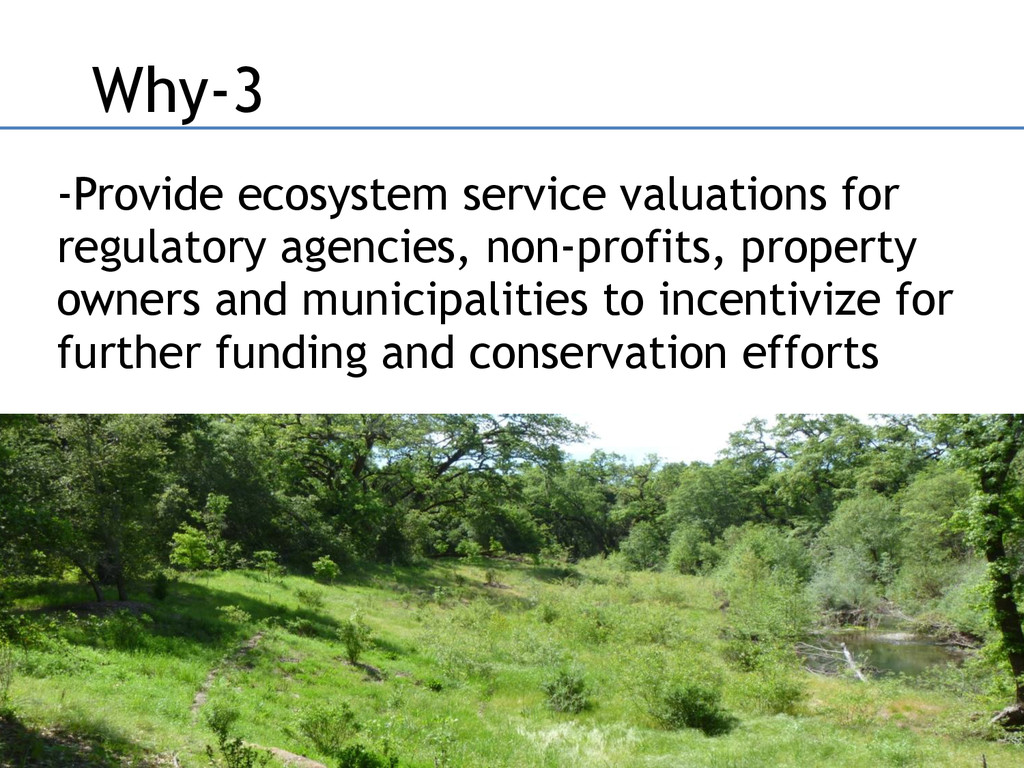 -Provide ecosystem service valuations for regul...