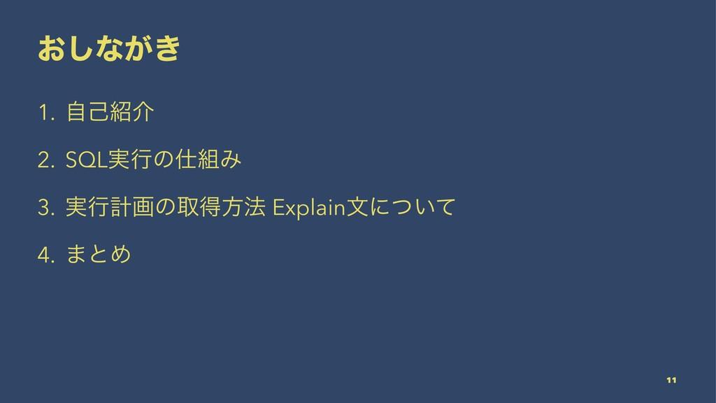 ͓͠ͳ͕͖ 1. ࣗݾհ 2. SQL࣮ߦͷΈ 3. ࣮ߦܭըͷऔಘํ๏ Explain...