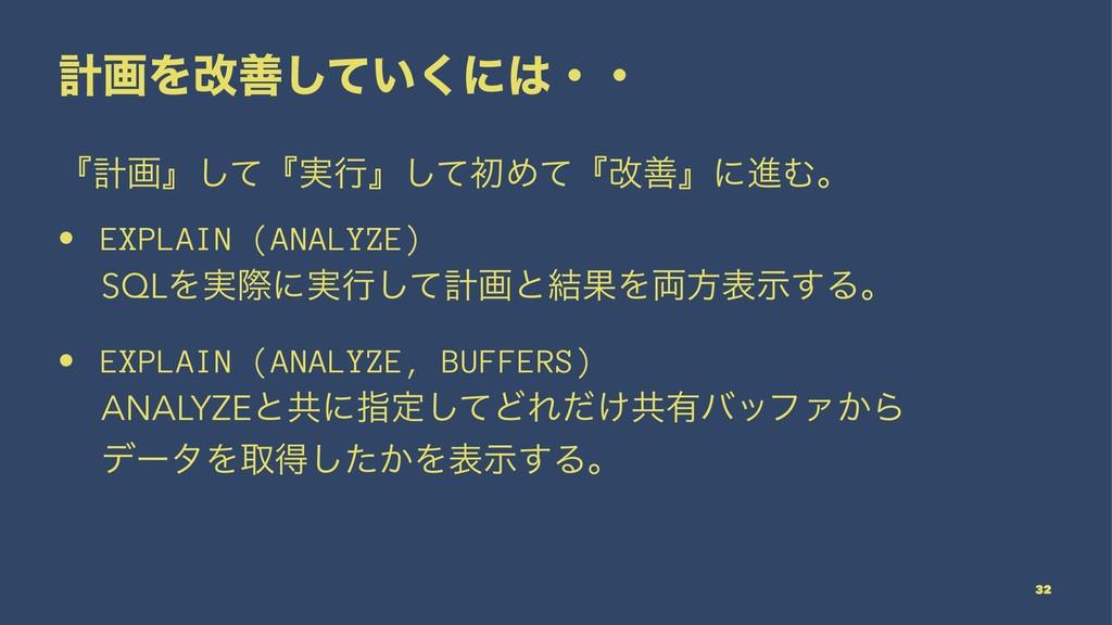 ܭըΛվળ͍ͯ͘͠ʹɾɾ ʰܭըʱͯ͠ʰ࣮ߦʱͯ͠ॳΊͯʰվળʱʹਐΉɻ • EXPLAIN...