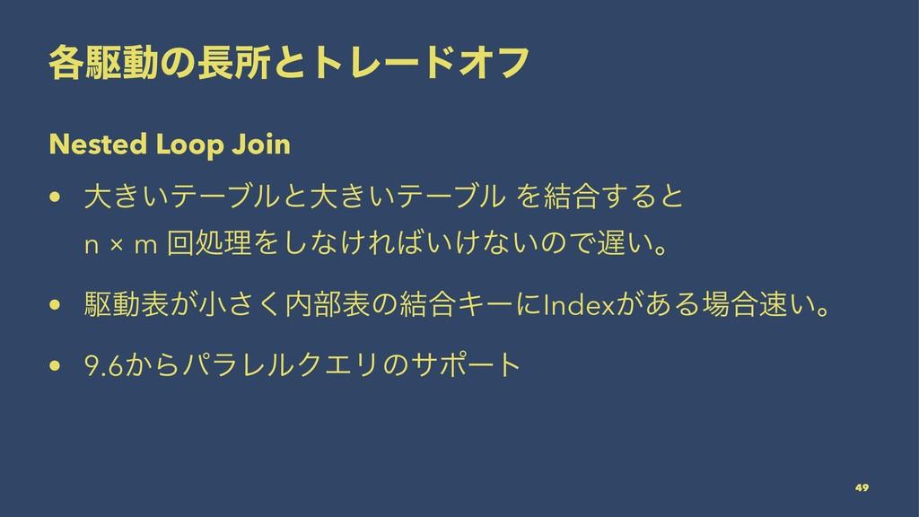 ֤ۦಈͷॴͱτϨʔυΦϑ Nested Loop Join • େ͖͍ςʔϒϧͱେ͖͍ςʔϒ...