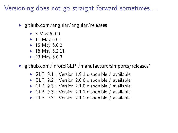 Versioning does not go straight forward sometim...