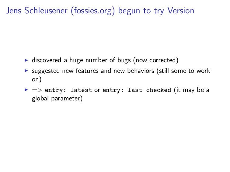 Jens Schleusener (fossies.org) begun to try Ver...