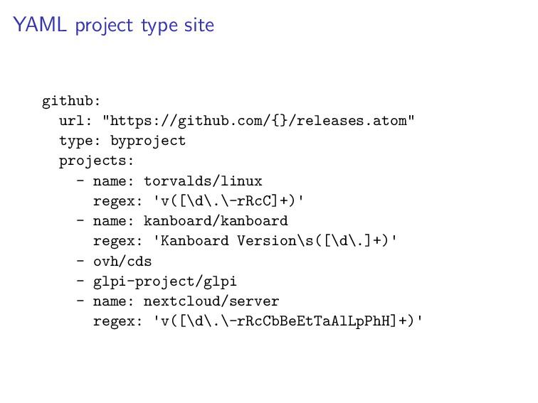 """YAML project type site github: url: """"https://gi..."""