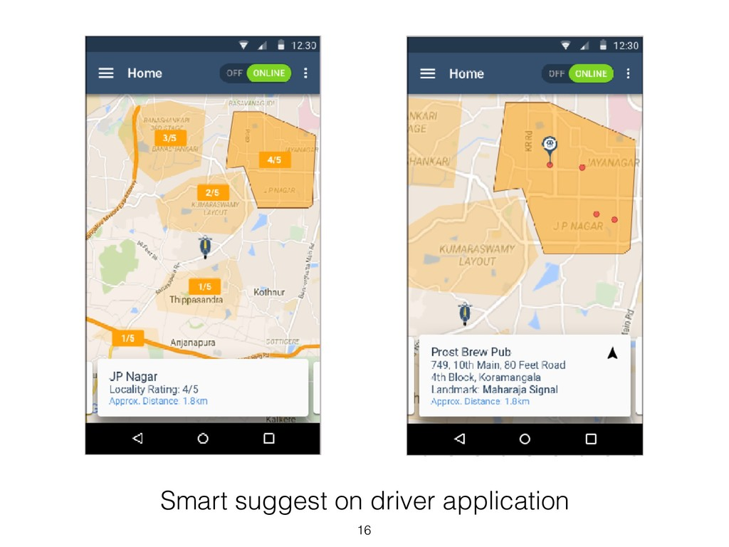 Smart suggest on driver application 16
