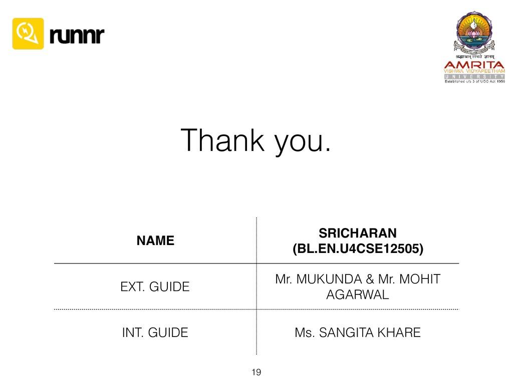 Thank you. 19 NAME SRICHARAN (BL.EN.U4CSE12505)...