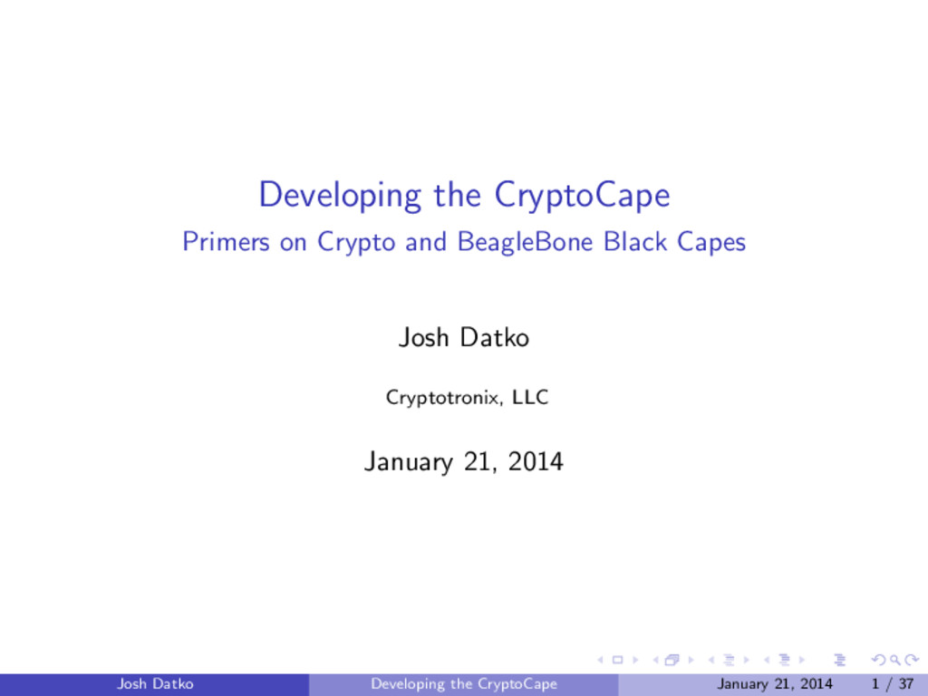 Developing the CryptoCape Primers on Crypto and...