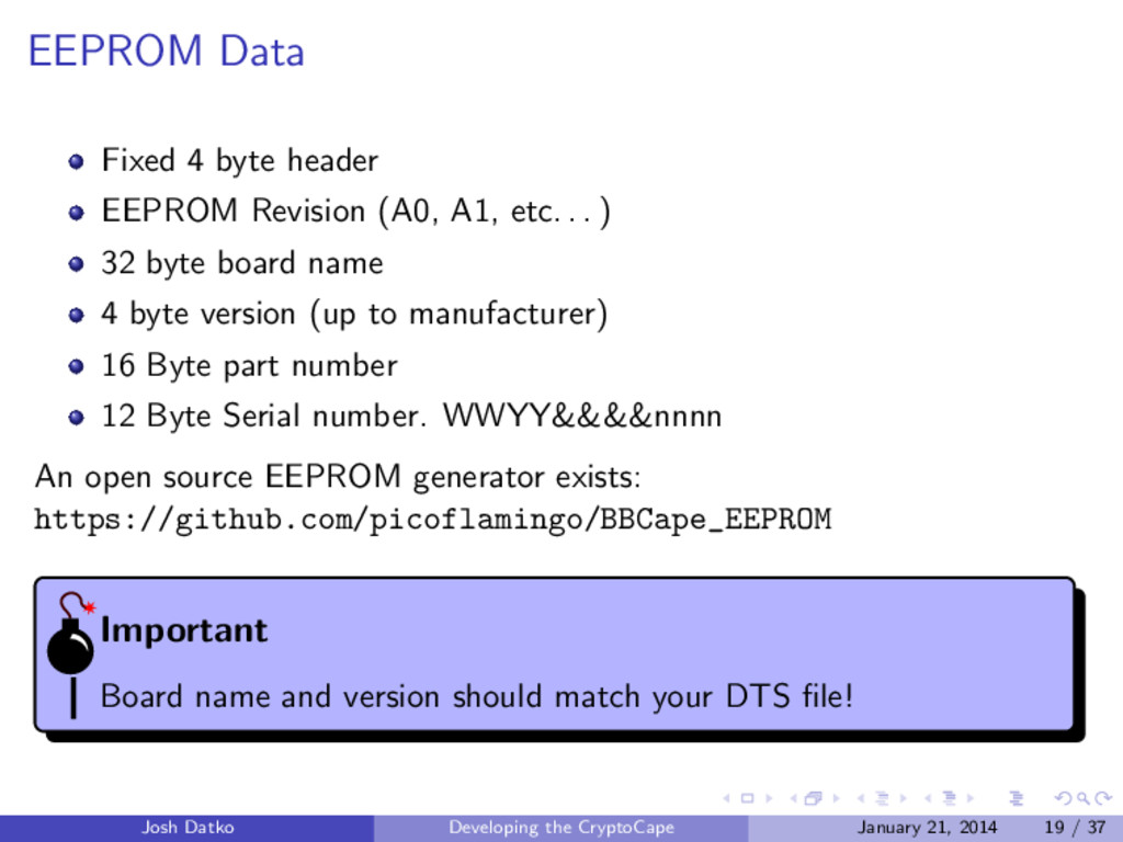 EEPROM Data Fixed 4 byte header EEPROM Revision...