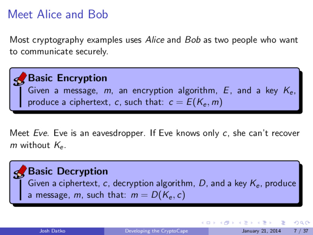 Meet Alice and Bob Most cryptography examples u...