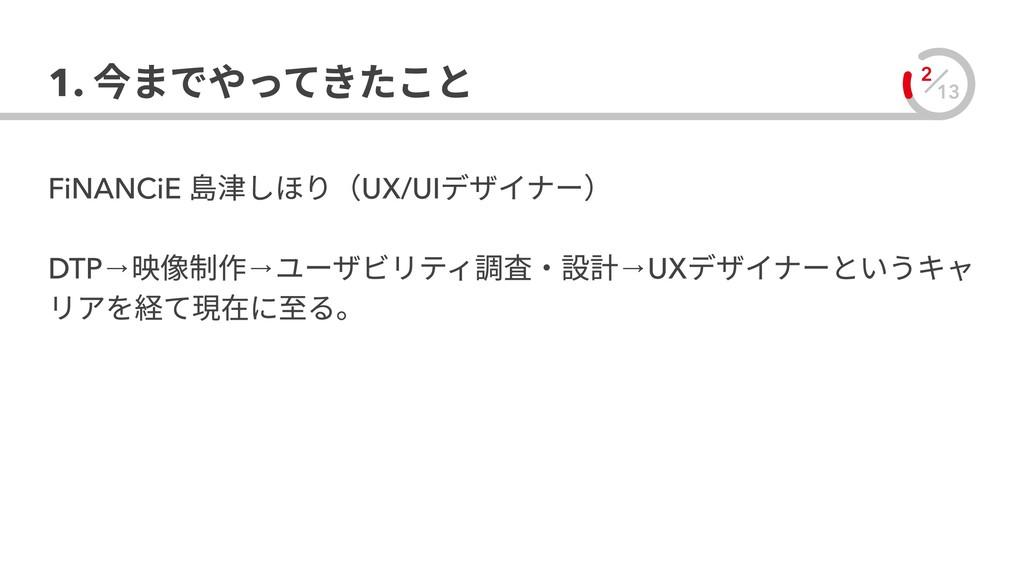 13 2 1. 今までやってきたこと FiNANCiE 島津しほり(UX/UIデザイナー)  ...
