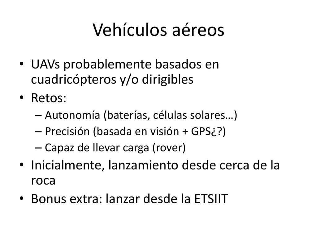 Vehículos aéreos • UAVs probablemente basados e...