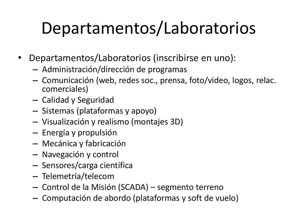 Departamentos/Laboratorios • Departamentos/Labo...