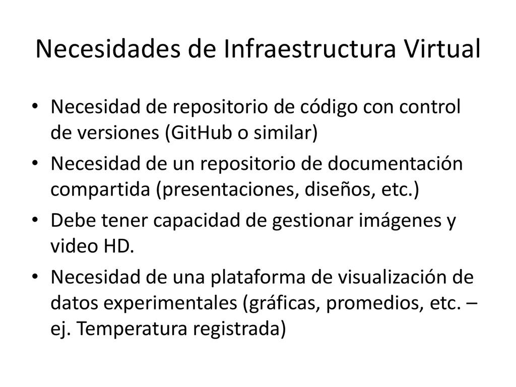 Necesidades de Infraestructura Virtual • Necesi...
