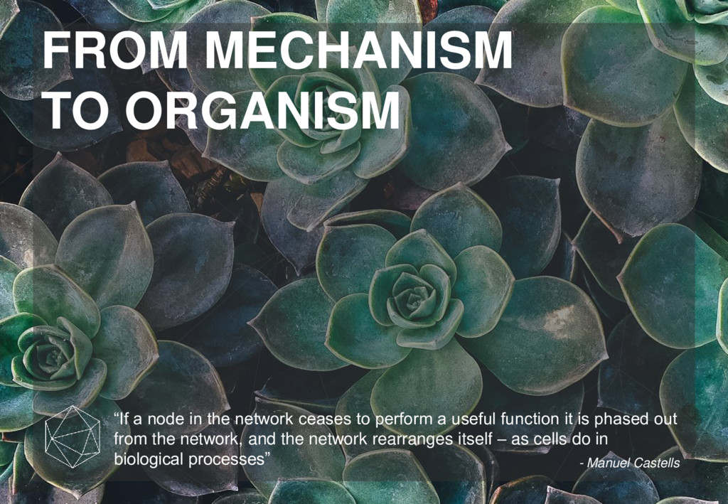 """FROM MECHANISM TO ORGANISM """"If a node in the ne..."""