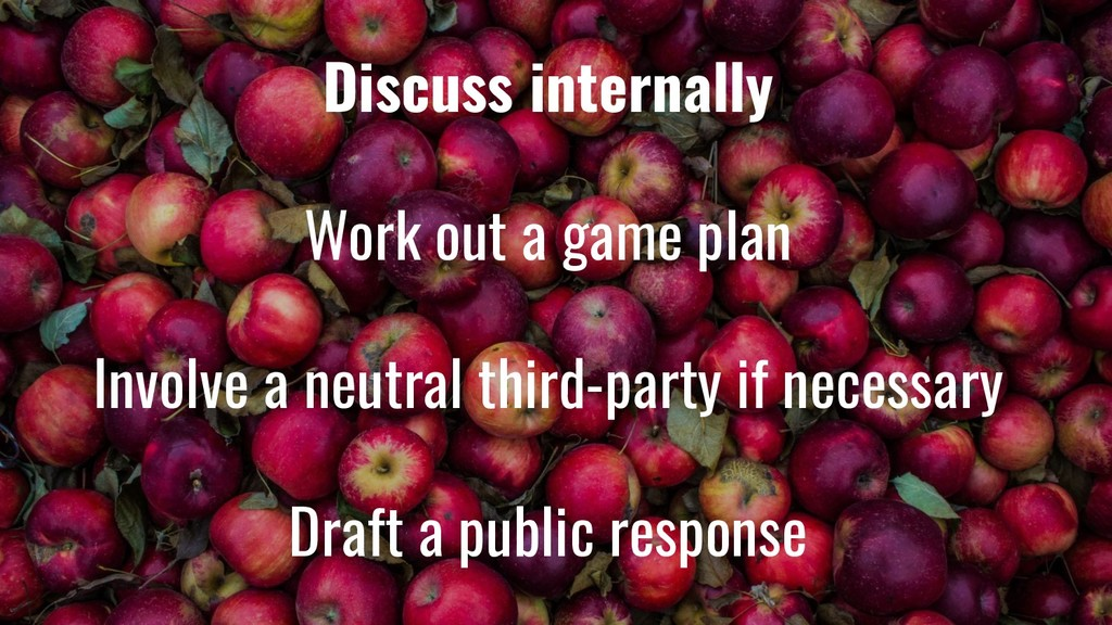 Discuss internally Work out a game plan Involve...