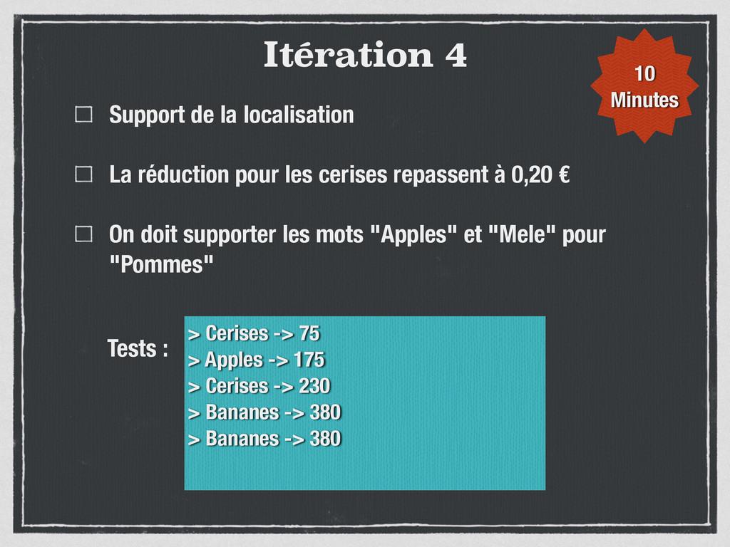 Itération 4 Support de la localisation La réduc...