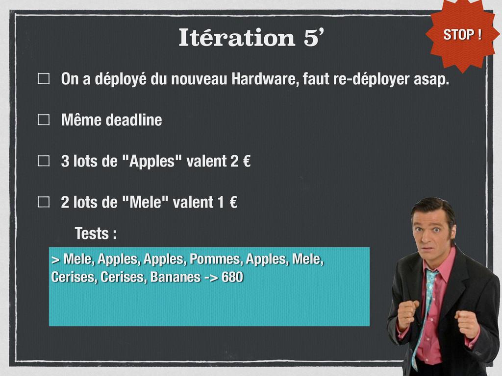 Itération 5' On a déployé du nouveau Hardware, ...