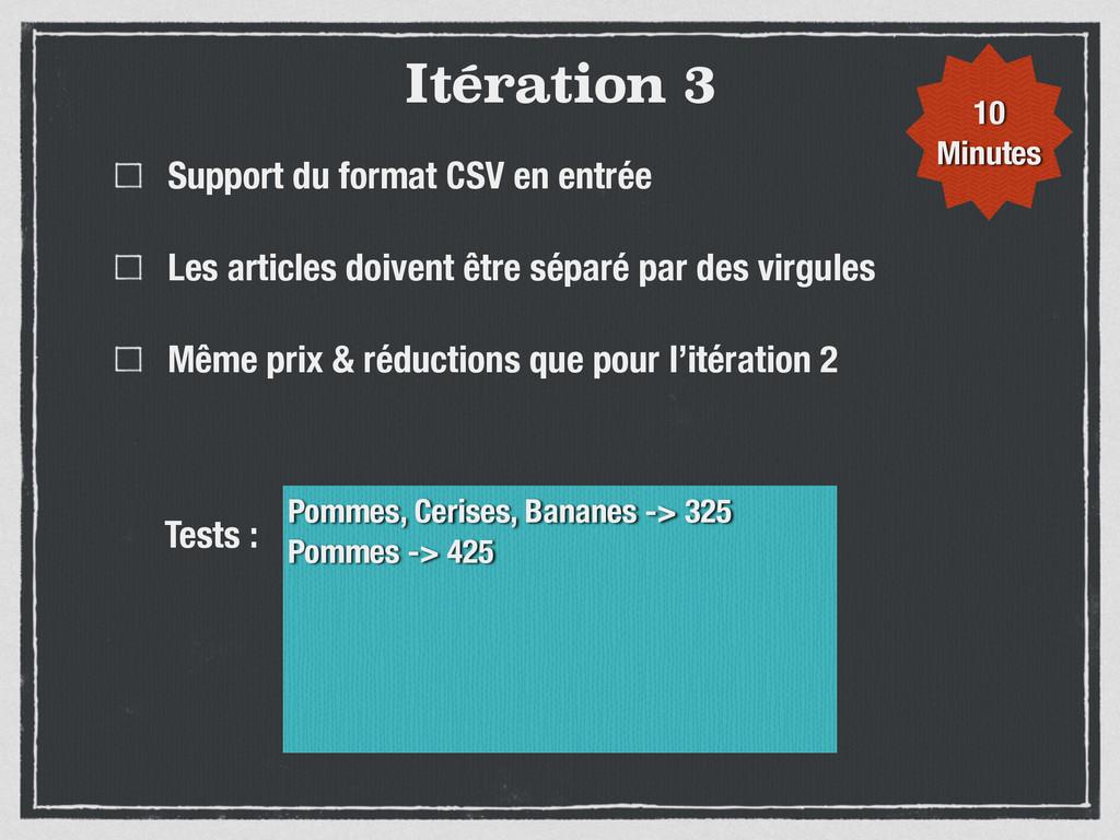 Itération 3 Support du format CSV en entrée Les...