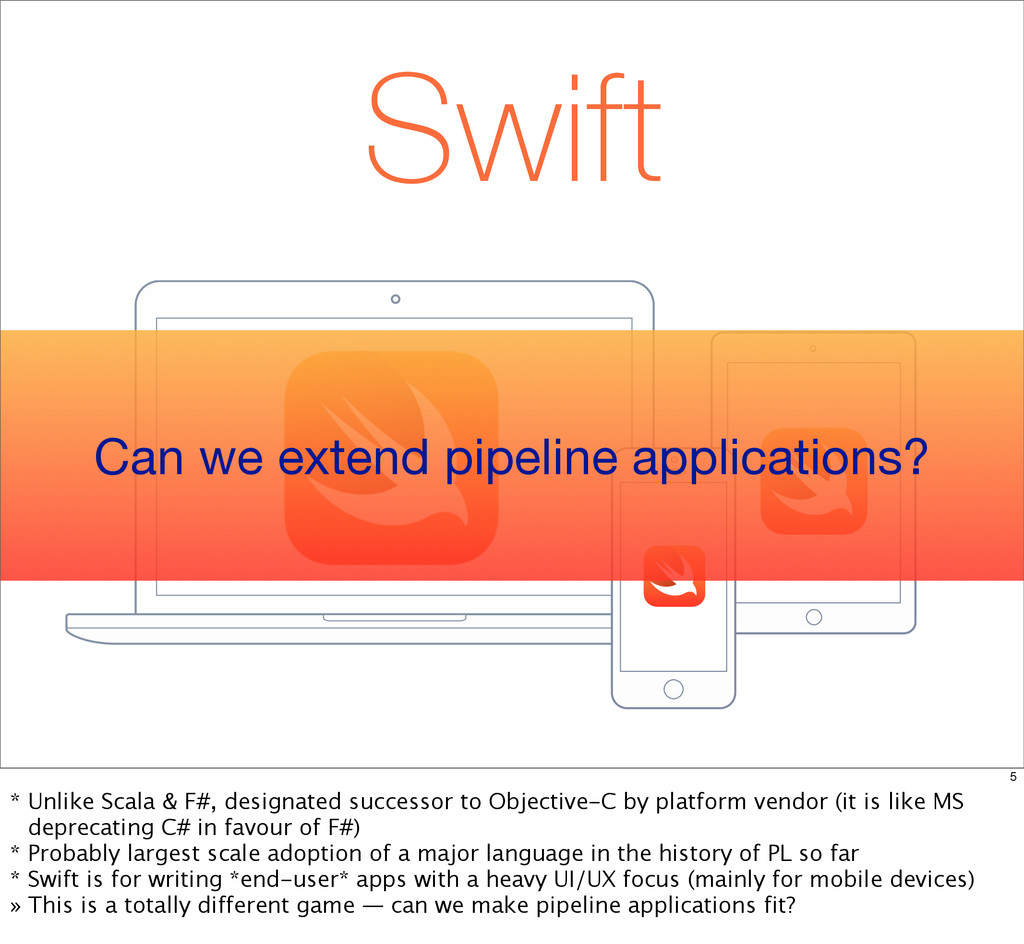 Swift Can we extend pipeline applications? 5 * ...