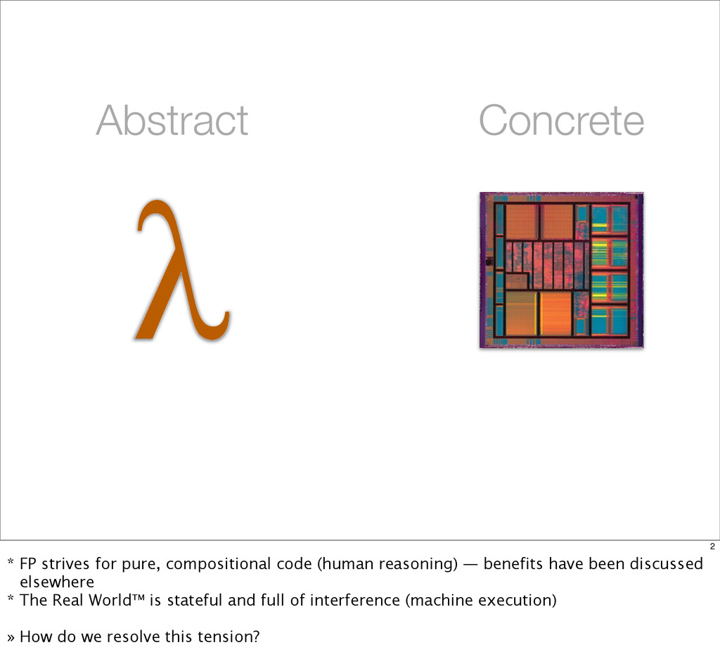 λ Abstract Concrete 2 * FP strives for pure, co...
