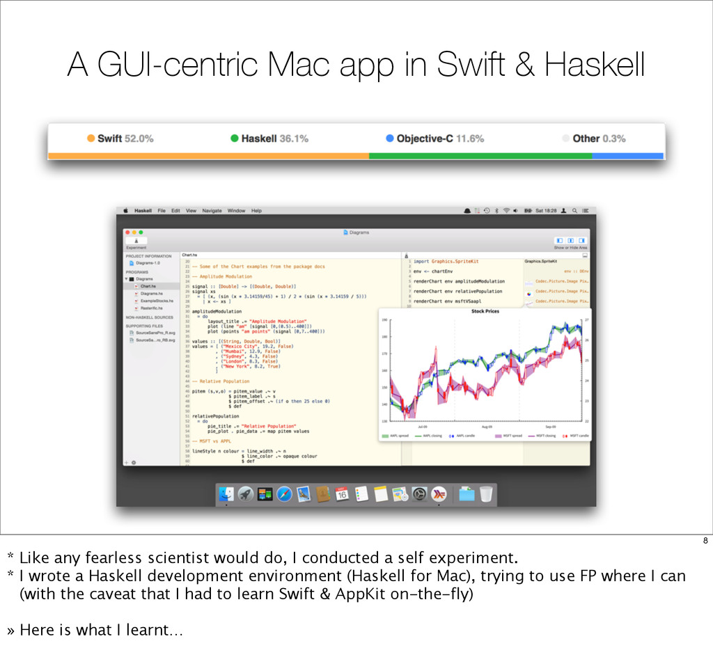 A GUI-centric Mac app in Swift & Haskell 8 * Li...