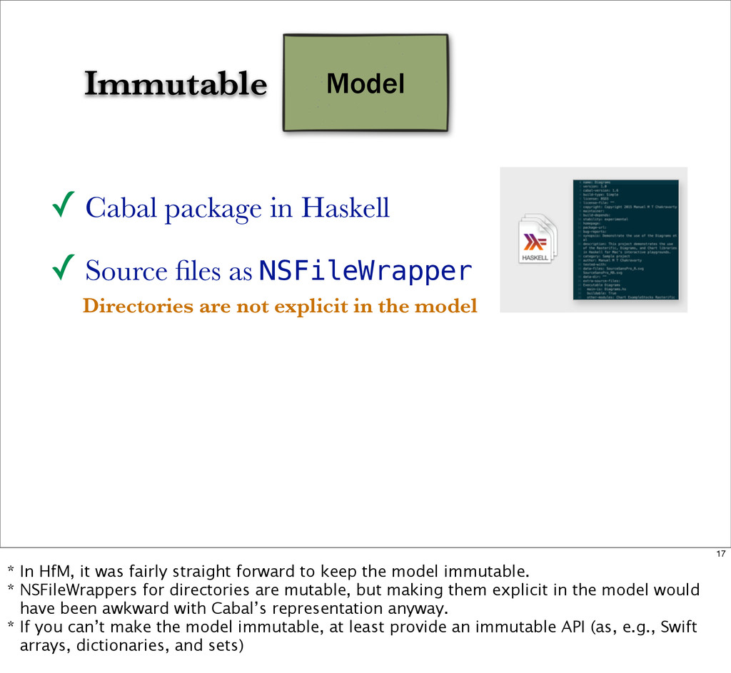 Model Immutable ✓ Cabal package in Haskell ✓ So...