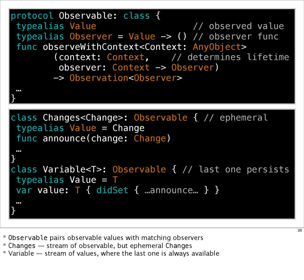 protocol Observable: class { typealias Value //...