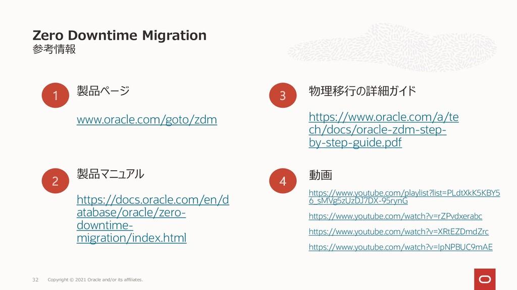 参考情報 Zero Downtime Migration Copyright © 2021 O...