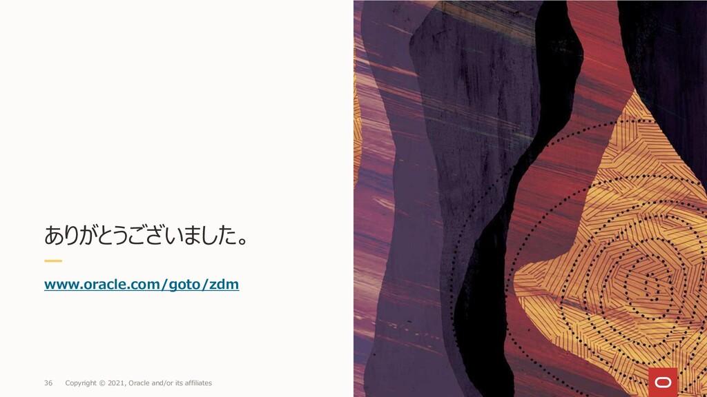 ありがとうございました。 www.oracle.com/goto/zdm 36 Copyrig...