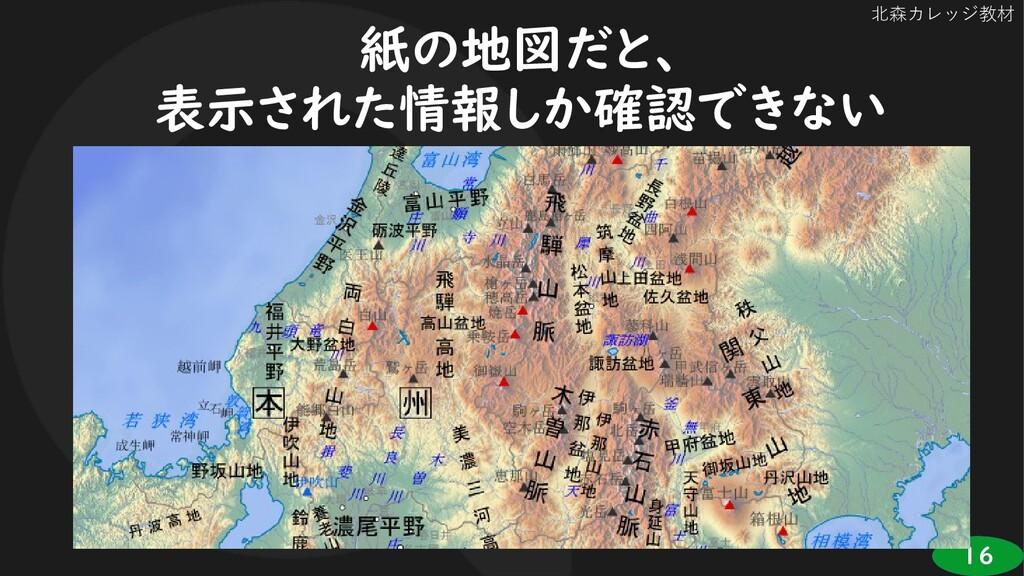 16 北森カレッジ教材 紙の地図だと、 表示された情報しか確認できない
