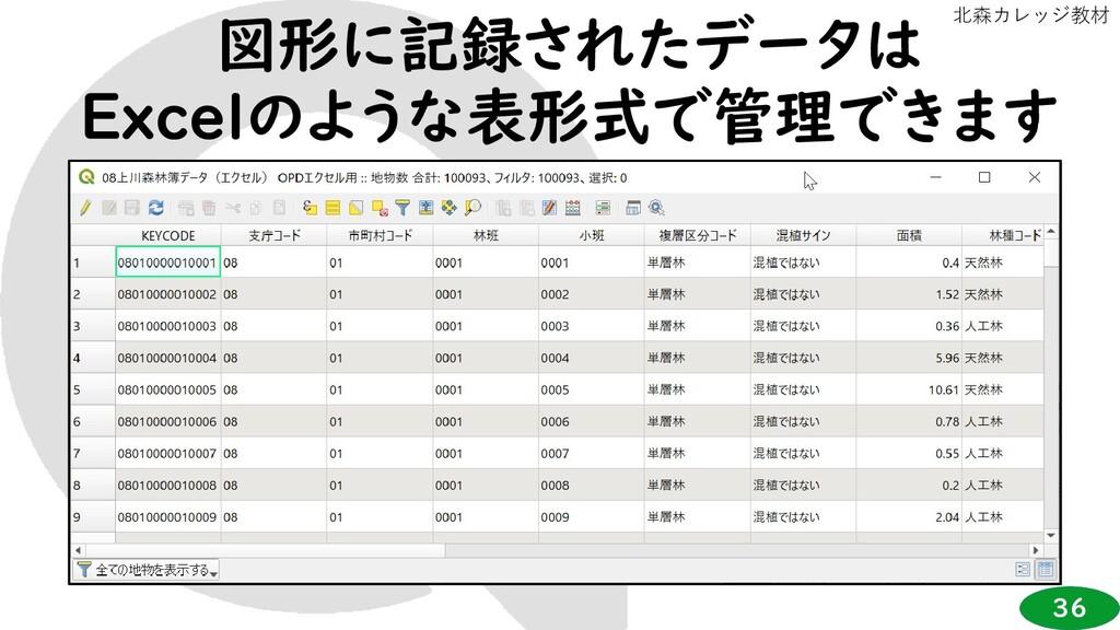 36 北森カレッジ教材 図形に記録されたデータは Excelのような表形式で管理できます