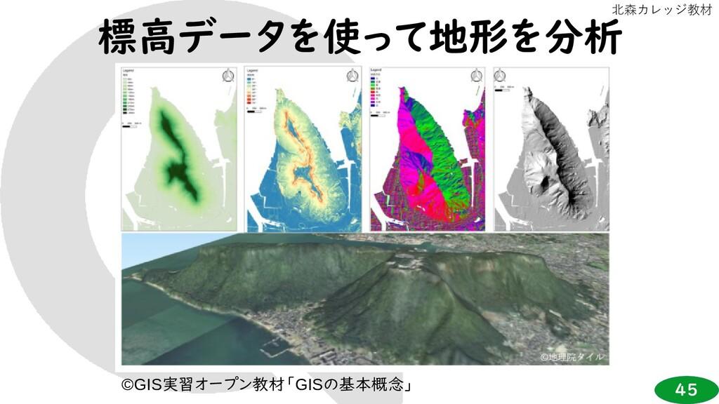 45 北森カレッジ教材 標高データを使って地形を分析 ©GIS実習オープン教材「GISの基本概...