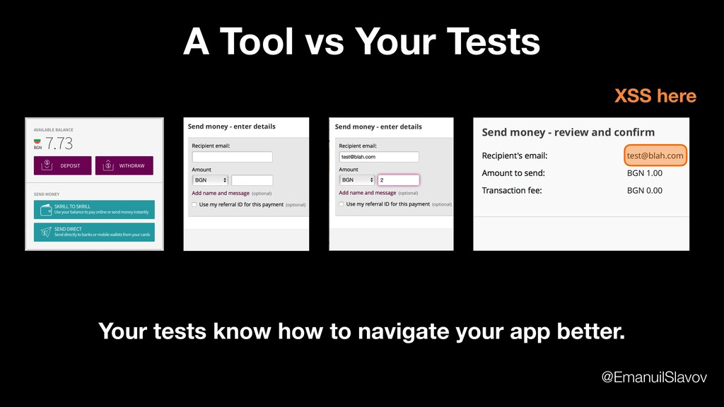 A Tool vs Your Tests XSS here Your tests know h...