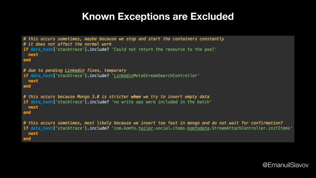 Known Exceptions are Excluded @EmanuilSlavov