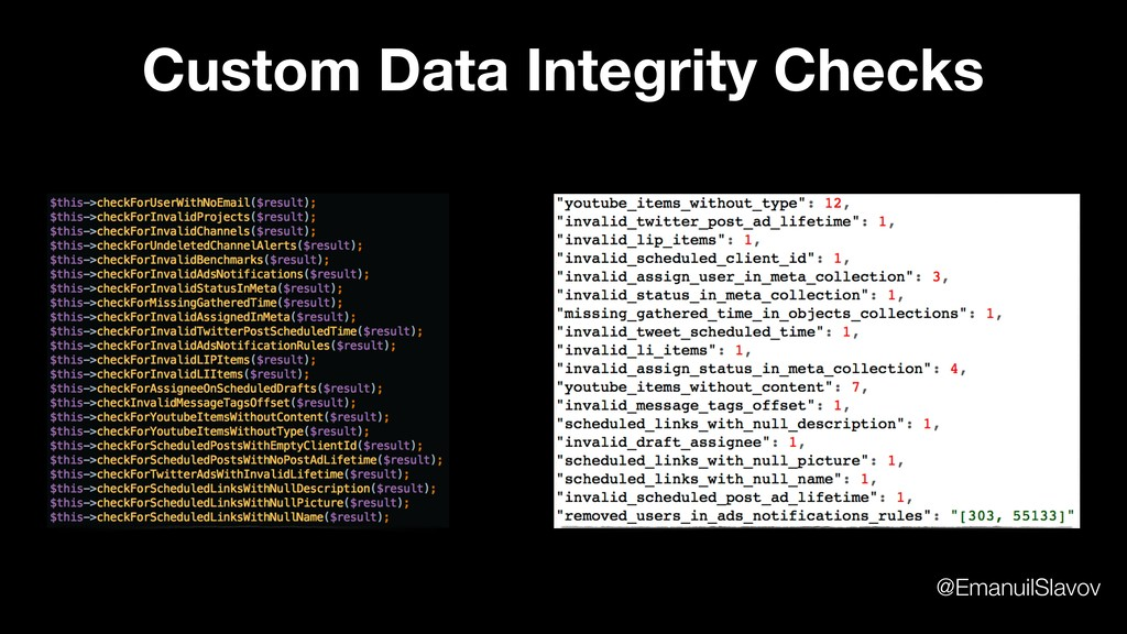 Custom Data Integrity Checks @EmanuilSlavov