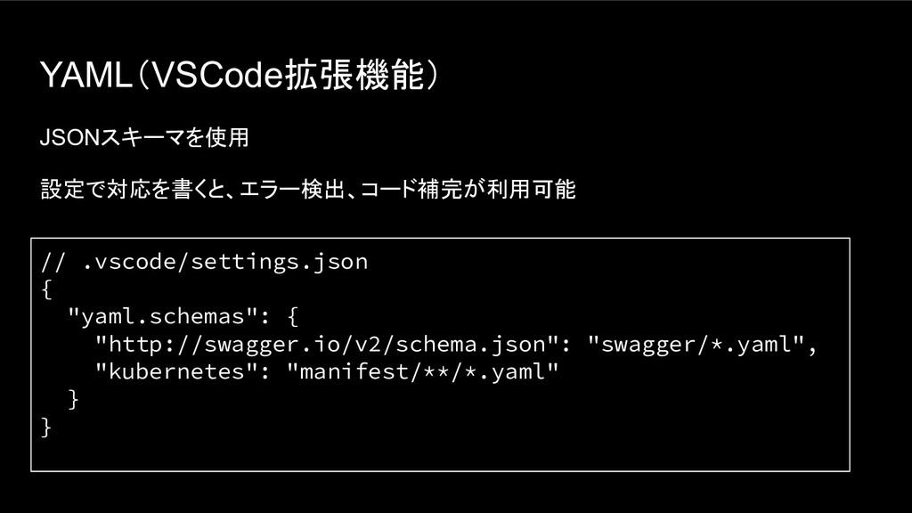 YAML(VSCode拡張機能) JSONスキーマを使用 設定で対応を書くと、エラー検出、コー...