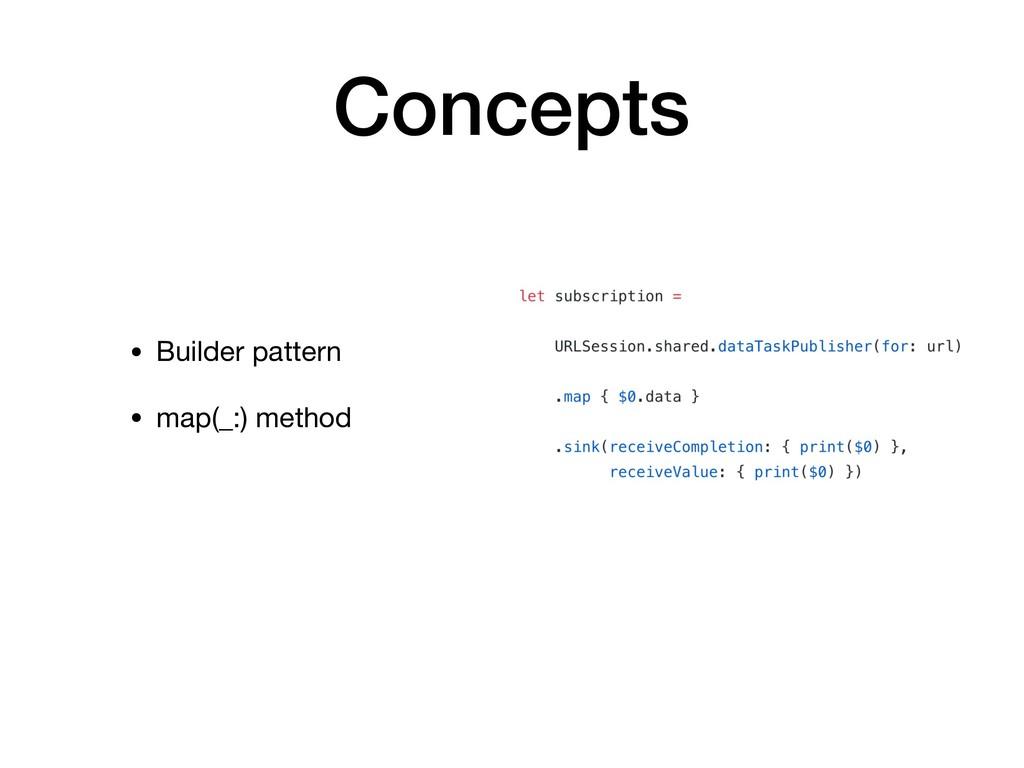 Concepts • Builder pattern  • map(_:) method