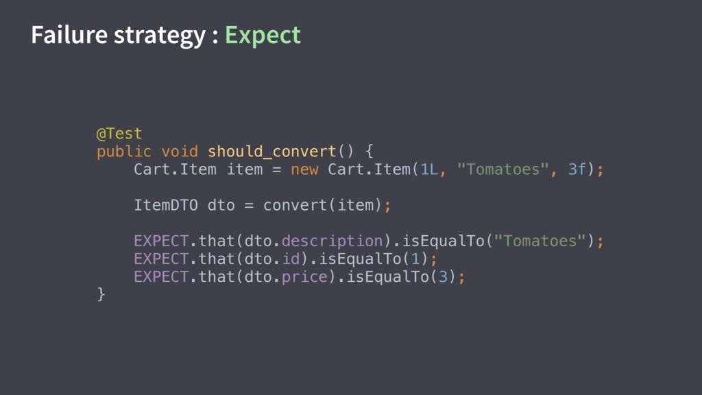 Failure strategy : Expect @Test public void sh...