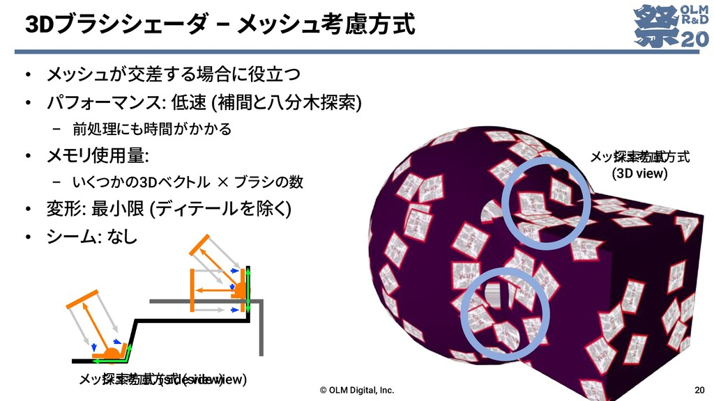 3Dブラシシェーダ – メッシュ考慮方式 • メッシュが交差する場合に役立つ • パフォーマン...