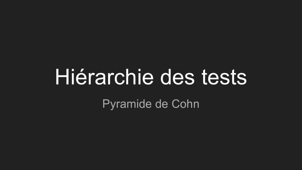 Hiérarchie des tests Pyramide de Cohn