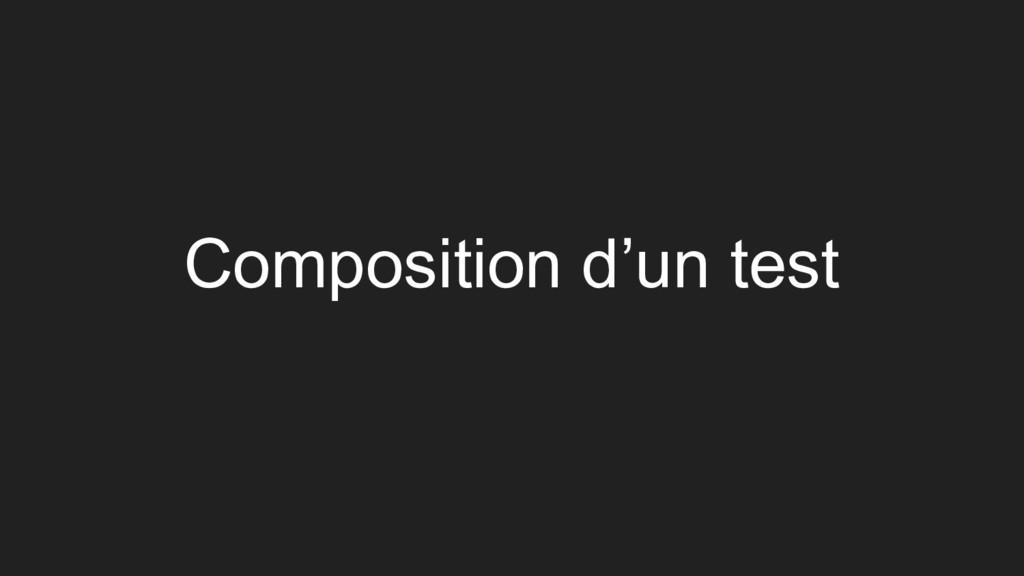 Composition d'un test