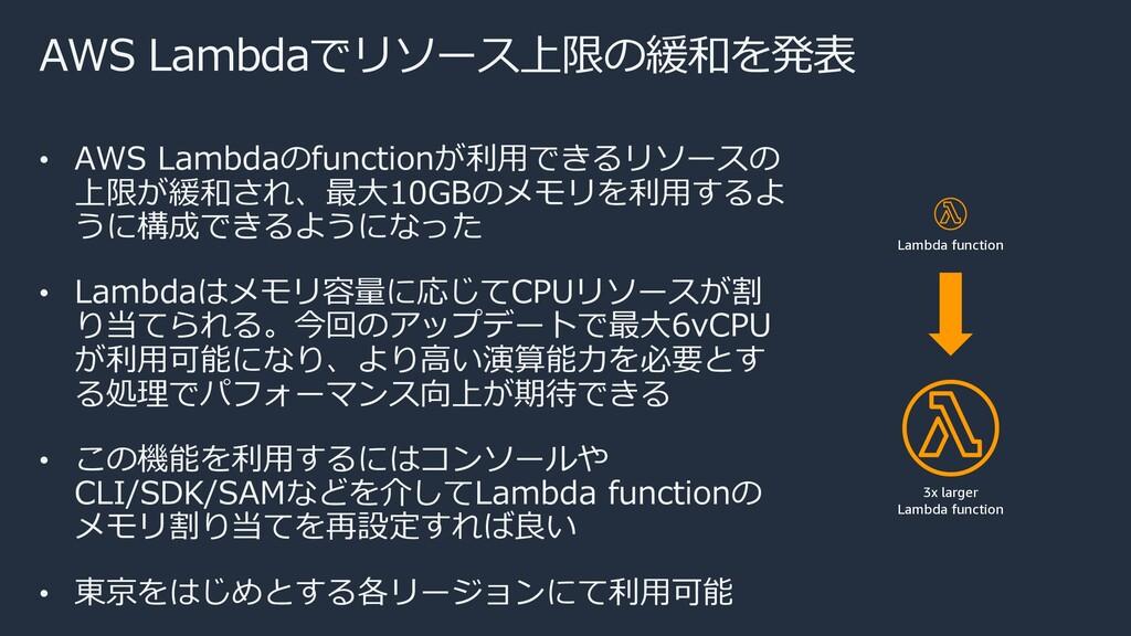 AWS Lambdaでリソース上限の緩和を発表 • AWS Lambdaのfunctionが利...