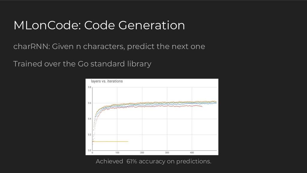 MLonCode: Code Generation charRNN: Given n char...