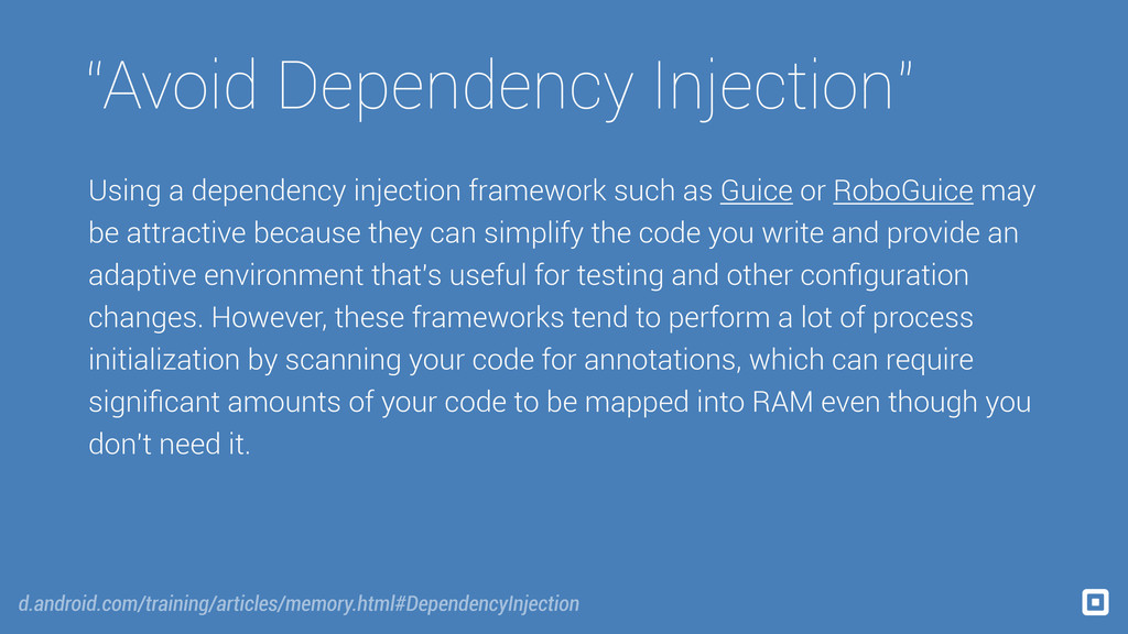 """Avoid Dependency Injection"" Using a dependency..."