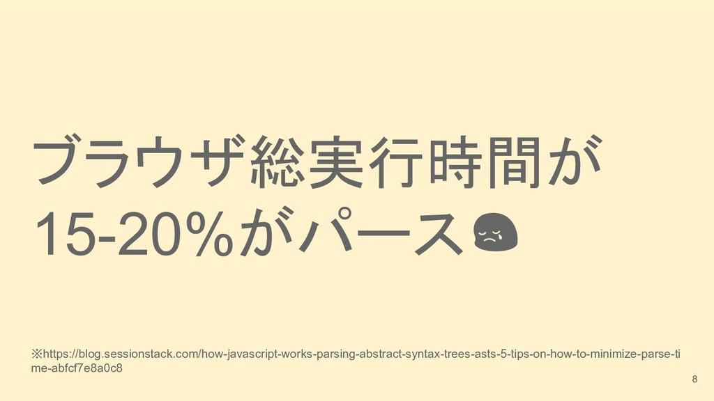 ブラウザ総実行時間が 15-20%がパース ※https://blog.sessionstac...