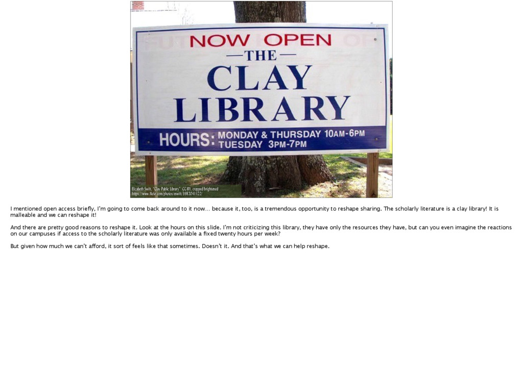 "Elizabeth Swift, ""Clay Public Library"" CC-BY, c..."